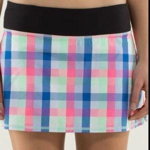 Lululemon multi color plaid skirt